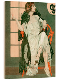 Holzbild  Dame schreibend - Clarence Coles Phillips