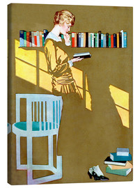 Obraz na płótnie  Reading in front of the bookshelf - Clarence Coles Phillips