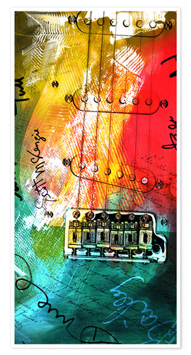 Premium-Poster Gitarre bunt Collage Musik rock n roll
