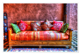 Poster  Orientalisches Sofa in Tinghir, Marokko - HADYPHOTO by Hady Khandani