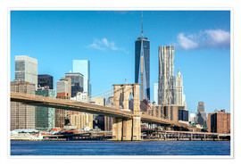Premium-Poster New York: Brooklyn Bridge und World Trade Center