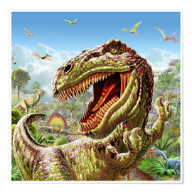 Poster  T-Rex & Dinos - Adrian Chesterman