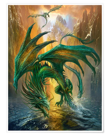Premium-Poster  Drachen am Fluss - Dragon Chronicles