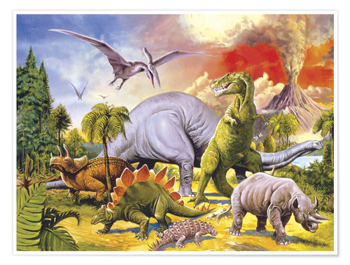 Premium-Poster Land of the dinosaurs