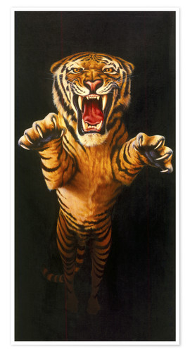 Premium-Poster Leaping Tiger