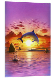 Hartschaumbild  Day of the dolphin - sunset - Robin Koni