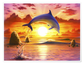 Premium-Poster  Day of the dolphin - sunset - Robin Koni