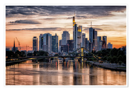 Premium-Poster Frankfurt am Main Sunset Skyline Skyscraper