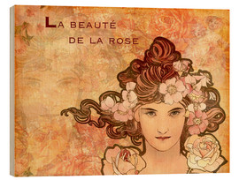 Holzbild  Rose, Collage - Alfons Mucha