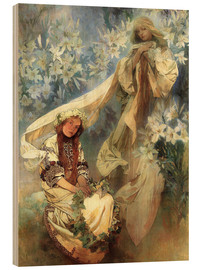 Holzbild  Lilienmadonna - Alfons Mucha