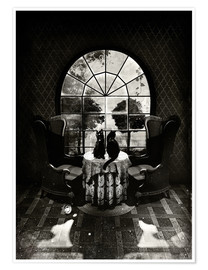 Premium-Poster Room Skull, black and white