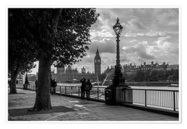 Premium-Poster London an der Themse Big Ben monochrome