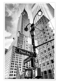 Premium-Poster Wolkenkratzer in New York – Chrysler Building (monochrom)