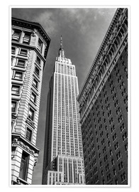 Premium-Poster Empire State Building - New York City (schwarz weiß)