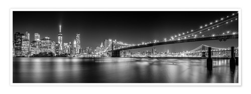 Premium-Poster New York Skyline und Brooklyn Bridge (monochrom)
