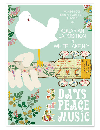Premium-Poster Woodstock in Mint