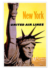 Premium-Poster New York United Air Lines