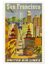 Premium-Poster San Francisco United Airlines
