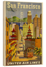 Holzbild  San Francisco United Airlines - Travel Collection