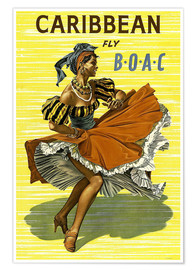 Premium-Poster Caribbean Fly BOAC