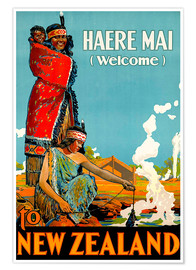 Premium-Poster  Haere Mai welcome to New Zealand