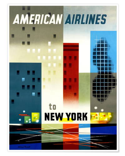 Premium-Poster American Airlines to New York