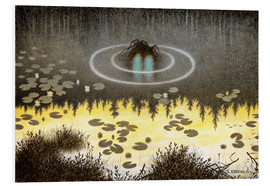 Hartschaumbild  Nøkken, The Monster of the Lake - Theodor Kittelsen