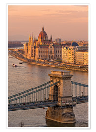 Premium-Poster  Budapest Abendstimmung - FineArt Panorama