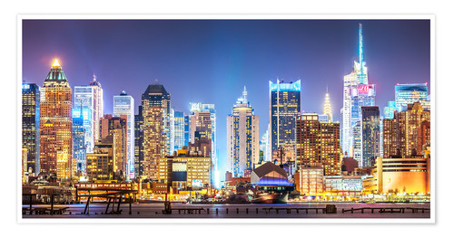 Premium-Poster New York Skyline in Neon Colors