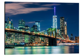 Alu-Dibond  New York Skyline und Brooklyn Bridge - Sascha Kilmer