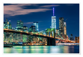 Premium-Poster New Yorker Skyline und Brooklyn Bridge