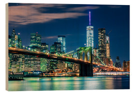 Holzbild  New Yorker Skyline und Brooklyn Bridge - Sascha Kilmer