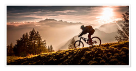 Premium-Poster Mountainbiker in der Abendsonne