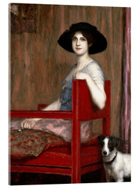 Acrylglasbild  Mary von Stuck in rotem Sessel - Franz von Stuck