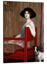 Alubild  Mary von Stuck in rotem Sessel - Franz von Stuck