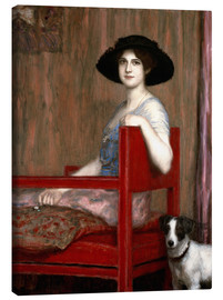 Leinwandbild  Mary von Stuck in rotem Sessel - Franz von Stuck