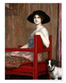 Premium-Poster  Mary von Stuck in rotem Sessel - Franz von Stuck