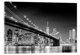 Acrylglasbild  Brooklyn Bridge und New York Skyline (monochrome) - Sascha Kilmer