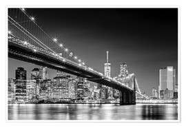 Premium-Poster Brooklyn Bridge und New York Skyline (monochrome)