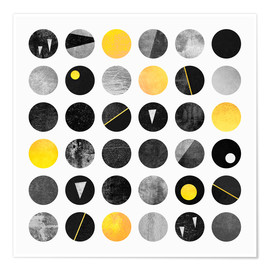 Premium-Poster  Black and yellow dots - Elisabeth Fredriksson