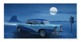 Poster Blue night on Route 66