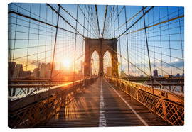 Leinwandbild  Brooklyn Bridge in NY bei Sonnenaufgang - Jan Christopher Becke