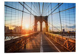 Hartschaumbild  Brooklyn Bridge in New York bei Sonnenaufgang - Jan Christopher Becke