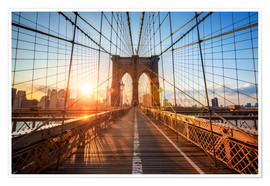 Premium-Poster  Brooklyn Bridge in New York bei Sonnenaufgang - Jan Christopher Becke