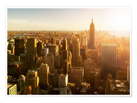 Premium-Poster  Manhattan Skyline in NY bei Sonnenuntergang - Jan Christopher Becke