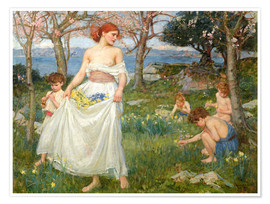 Premium-Poster  Das Frühlingsfeld - John William Waterhouse