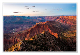 Premium-Poster  Panorama vom South Rim über den Grand Canyon bei Sonnenuntergang, USA. - Peter Wey