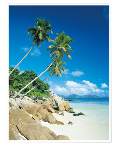 Premium-Poster Anse Severe With Praslin Island in Background, La Digue, Seychelles