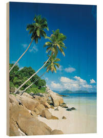 Holzbild  Anse Severe With Praslin Island in Background, La Digue, Seychelles - Lee Frost