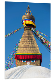 Hartschaumbild  Bodhnath Stupa (Boudhanth) (Boudha), one of the holiest Buddhist sites in Kathmandu, UNESCO World He - Lee Frost